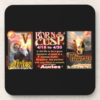 Aries Taurus zodiac Cusp by valxart Beverage Coaster