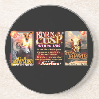 Aries Taurus zodiac Cusp by valxart Coaster
