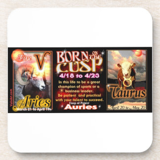 Aries Taurus zodiac Cusp by valxart Drink Coaster