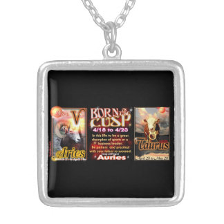 Aries Taurus zodiac Cusp by valxart Silver Plated Necklace