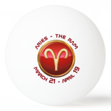 Aries - The Ram Astrological Sign Ping-Pong Ball