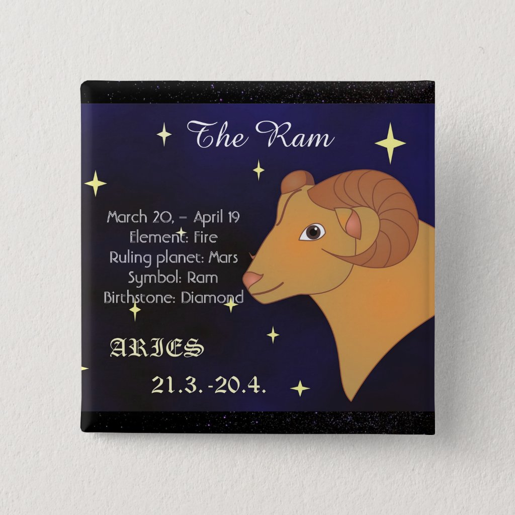Aries The Ram Horoscope Zodiac Sign Button