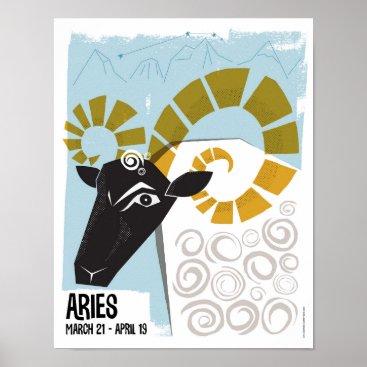 Art Themed Aries the Ram Zodiac Poster