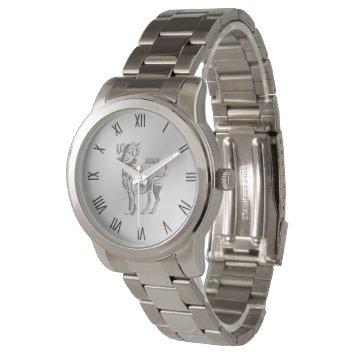 Aries the Ram Zodiac Silver Roman Numerals Wrist Watch