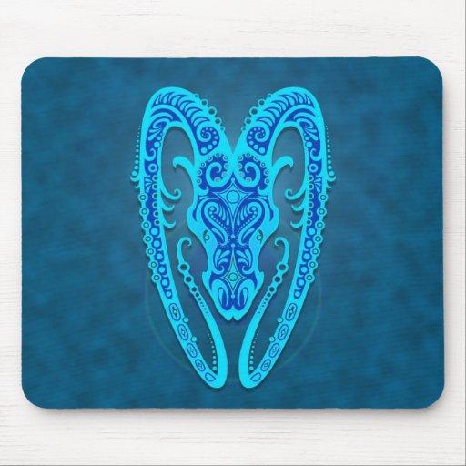 Aries tribal azul complejo tapete de ratón