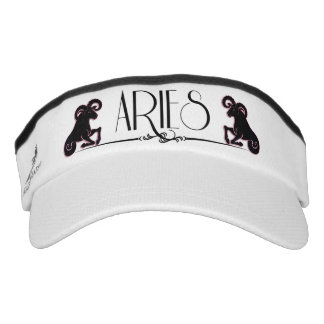 Aries Typography with Ram Zodiac Symbol Visor