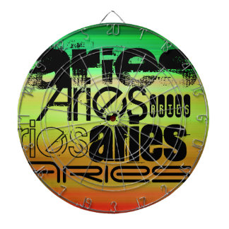 Aries; Vibrant Green, Orange, & Yellow Dartboard