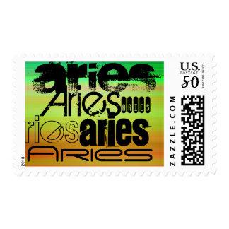 Aries; Vibrant Green, Orange, & Yellow Postage