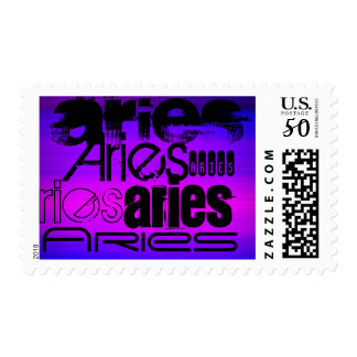 Aries; Vibrant Violet Blue and Magenta Postage