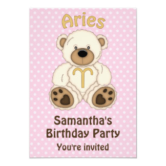 Aries White Bear on Pink Birthday Party 5x7 Paper Invitation Card