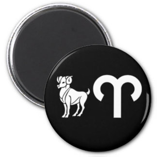 Aries with Symbol 2 Inch Round Magnet