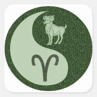 Aries Yin Yang Calcomanías Cuadradass
