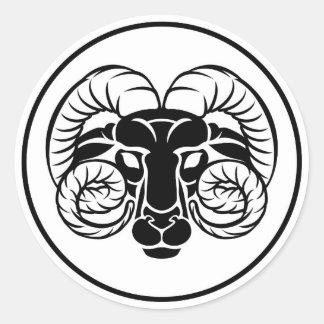 Aries Zodiac Astrology Ram Sign Classic Round Sticker