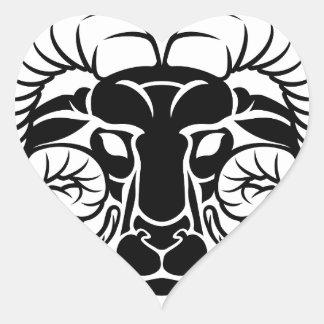 Aries Zodiac Astrology Ram Sign Heart Sticker