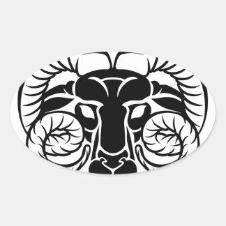Aries Zodiac Astrology Ram Sign Oval Sticker