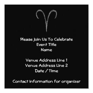 Aries. Zodiac Astrology Sign. Black. 5.25x5.25 Square Paper Invitation Card