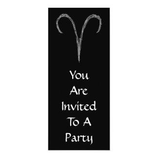 Aries. Zodiac Astrology Sign. Black. 4x9.25 Paper Invitation Card