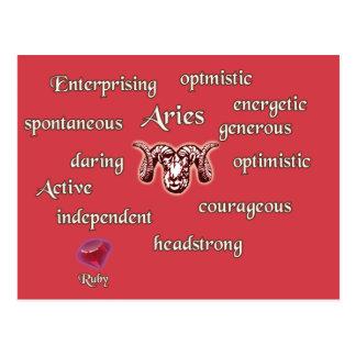 Aries zodiac characteristics postcard