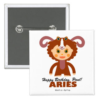 Aries Zodiac for Kids Pinback Buttons