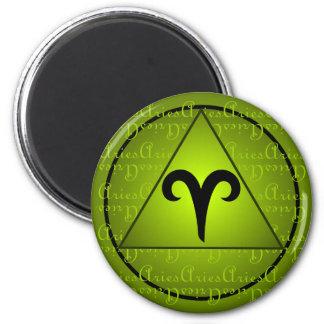 Aries Zodiac Green Triangle Curly Script 2 Inch Round Magnet