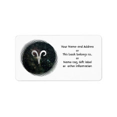 Aries Zodiac On Universe Name Gift Tag Bookplate at Zazzle