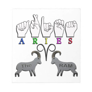 ARIES ZODIAC RAM FINGERSPELLED ASL NOTEPAD