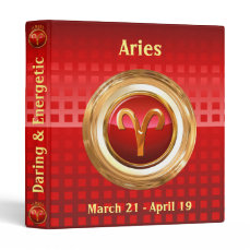 Aries Zodiac Sign 3 Ring Binder