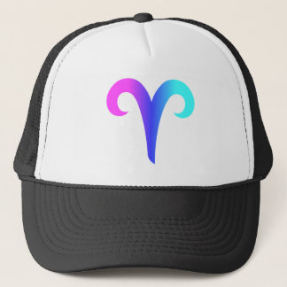 Aries Zodiac Sign Aqua Blue Pink Gradient Trucker Hat