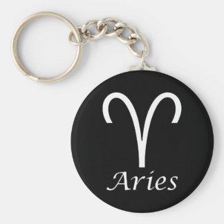 'Aries' Zodiac Sign Basic Round Button Keychain