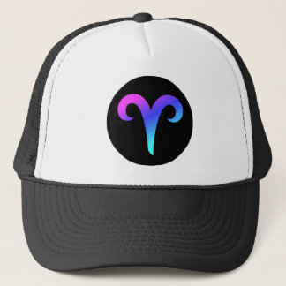 Aries Zodiac Sign Black Circle Crest Trucker Hat