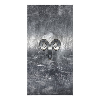 Aries Zodiac Sign in Grunge Distressed Style Photo Card