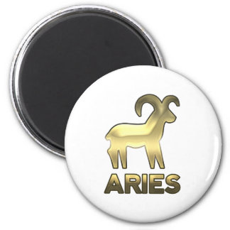 Aries zodiac sign - old gold edition 2 inch round magnet