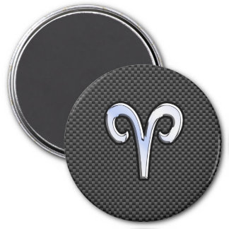 Aries Zodiac Sign on Carbon Fiber Style 3 Inch Round Magnet