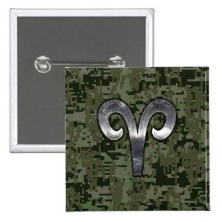 Aries Zodiac Sign on Green Digital Camo 2 Inch Square Button