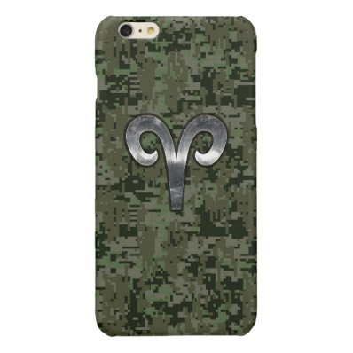 Aries Zodiac Sign on Green Digital Camo Glossy iPhone 6 Plus Case