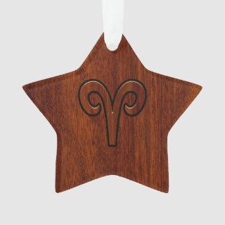Aries Zodiac Sign on Mahogany like print