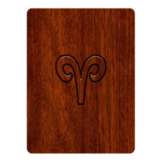 Aries Zodiac Sign on Mahogany like print Card