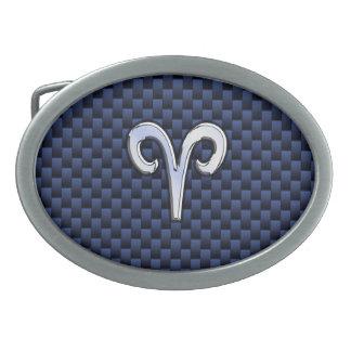 Aries Zodiac Sign on Navy Blue Carbon Fiber Print Oval Belt Buckle