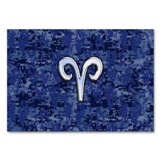 Aries Zodiac Sign on Navy Blue Digital Camo Card