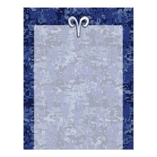 Aries Zodiac Sign on Navy Blue Digital Camo Decor Letterhead