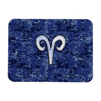 Aries Zodiac Sign on Navy Blue Digital Camo Rectangular Photo Magnet