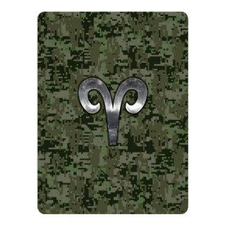 Aries Zodiac Sign on Woodland Green Digital Camo Card