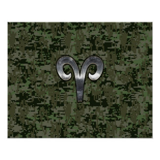 Aries Zodiac Sign on Woodland Green Digital Camo Poster