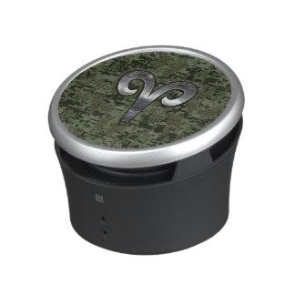 Aries Zodiac Sign on Woodland Style Digital Camo Bluetooth Speaker