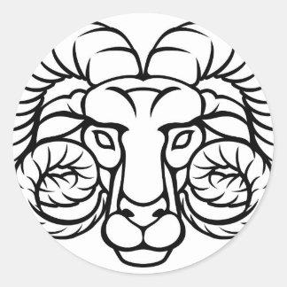 Aries Zodiac Sign Ram Classic Round Sticker