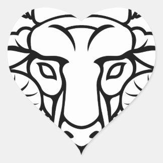Aries Zodiac Sign Ram Heart Sticker