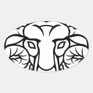 Aries Zodiac Sign Ram Oval Sticker