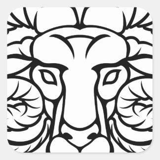 Aries Zodiac Sign Ram Square Sticker