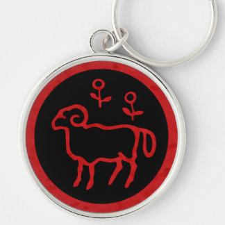 Aries Zodiac Sign Red Keychain