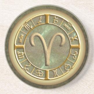 Aries Zodiac Sign Sandstone Coaster